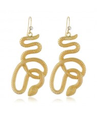 Lucky Symbol Golden Snake Design High Fashion Women Alloy Earrings