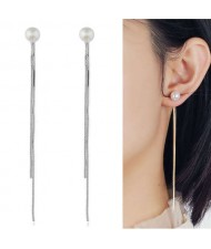 Pearl Fashion Chain Tassel Simple Design Women Earrings - Silver