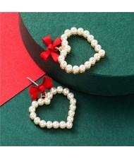 Bowknot Pearl Heart Design Korean Fashion Women Stud Earrings - Red