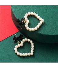 Bowknot Pearl Heart Design Korean Fashion Women Stud Earrings - Black