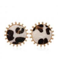 Leopard Prints Round Design High Fashion Women Stud Earrings - Khaki