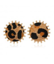 Leopard Prints Round Design High Fashion Women Stud Earrings - Brown