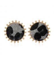 Leopard Prints Round Design High Fashion Women Stud Earrings - Black