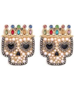 Skull Wearing Crown Design Halloween High Fashion Women Earrings