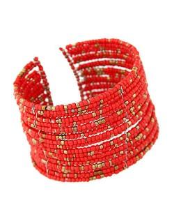 Bohemian Fashion Mini Beads Multi-layer Design Open Design Women Costume Bracelet - Red