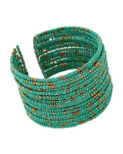 Bohemian Fashion Mini Beads Multi-layer Design Open Design Women Costume Bracelet - Green