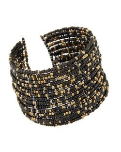 Bohemian Fashion Mini Beads Multi-layer Design Open Design Women Costume Bracelet - Black