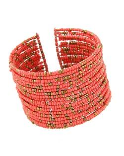 Bohemian Fashion Mini Beads Multi-layer Design Open Design Women Costume Bracelet - Pink