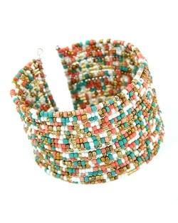 Bohemian Fashion Mini Beads Multi-layer Design Open Design Women Costume Bracelet - Multicolor