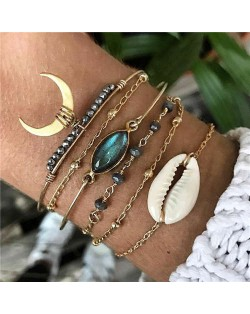 High Fashion Seashell Gem and Beads 6 pcs Golden Women Bracelets Combo