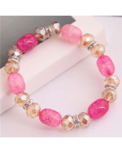 Korean Fashion Artificial Turquoise and Crystal Mixed Style Women Costume Bracelet - Pink