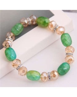 Korean Fashion Artificial Turquoise and Crystal Mixed Style Women Costume Bracelet - Green