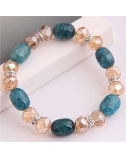 Korean Fashion Artificial Turquoise and Crystal Mixed Style Women Costume Bracelet - Blue