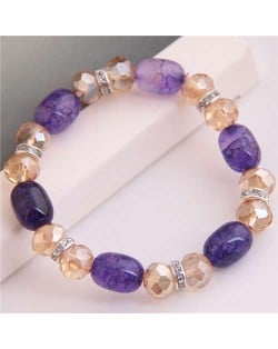 Korean Fashion Artificial Turquoise and Crystal Mixed Style Women Costume Bracelet - Purple