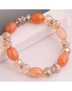 Korean Fashion Artificial Turquoise and Crystal Mixed Style Women Costume Bracelet - Orange