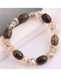 Korean Fashion Artificial Turquoise and Crystal Mixed Style Women Costume Bracelet - Coffee