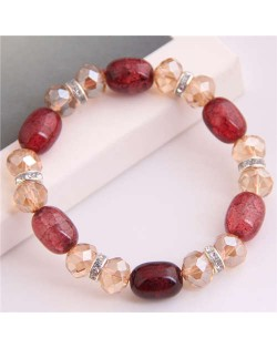Korean Fashion Artificial Turquoise and Crystal Mixed Style Women Costume Bracelet - Red