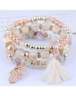 Palm and Cotton Threads Tassel Pendants Decorated Triple Layers Women Fashion Bracelet - White