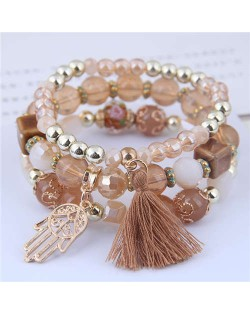 Palm and Cotton Threads Tassel Pendants Decorated Triple Layers Women Fashion Bracelet - Brown