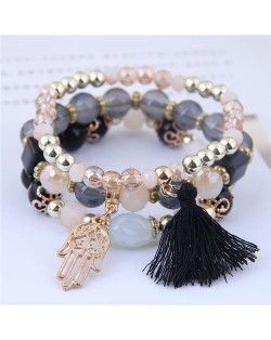 Palm and Cotton Threads Tassel Pendants Decorated Triple Layers Women Fashion Bracelet - Black