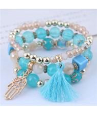 Palm and Cotton Threads Tassel Pendants Decorated Triple Layers Women Fashion Bracelet - Blue