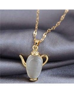 Delicate Jade Teapot Unique Design Fashion Women Costume Necklace
