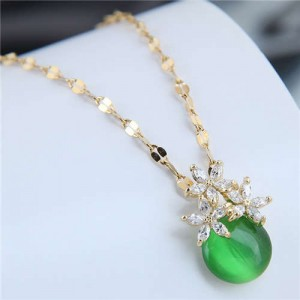 Cubic Zirconia Flower Embellished Round Jade Pendant Copper Women Fashion Costume Necklace - Green