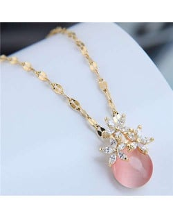 Cubic Zirconia Flower Embellished Round Jade Pendant Copper Women Fashion Costume Necklace - Pink