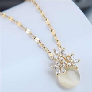 Cubic Zirconia Flower Embellished Round Jade Pendant Copper Women Fashion Costume Necklace - White