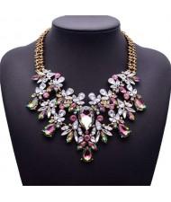 Luminous Colorful Gems Flower Short Bib Fashion Women Statement Costume Necklace