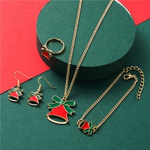 Christmas Fashion Red Bell Design 4 pcs Alloy Jewelry Set