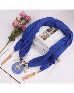 Hollow Vase Design Pendant with Tassel Chains Decoration Design Women Scarf Necklace - Royal Blue