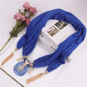 Hollow Vase Design Pendant with Tassel Chains Decoration Design Women Scarf Necklace - Royal Blue