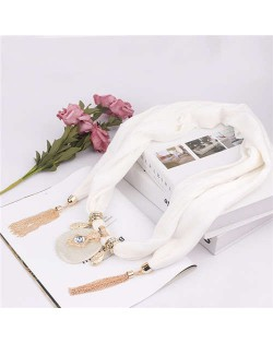 Hollow Vase Design Pendant with Tassel Chains Decoration Design Women Scarf Necklace - White