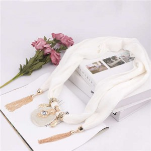 Hollow Vase Design Pendant with Tassel Chains Decoration Design Women Scarf Necklace - White