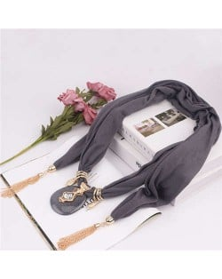 Hollow Vase Design Pendant with Tassel Chains Decoration Design Women Scarf Necklace - Gray