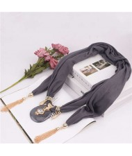 Hollow Vase Design Pendant with Tassel Chains Decoration Design Women Scarf Necklace - Gray