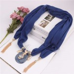 Hollow Vase Design Pendant with Tassel Chains Decoration Design Women Scarf Necklace - Ink Blue