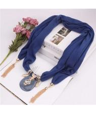 Hollow Vase Design Pendant with Tassel Chains Decoration Design Women Scarf Necklace - Ink Blue