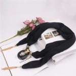 Hollow Vase Design Pendant with Tassel Chains Decoration Design Women Scarf Necklace - Black