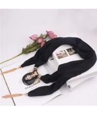 Hollow Vase Design Pendant with Tassel Chains Decoration Design Women Scarf Necklace - Black