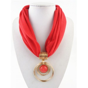 Artificial Turquoise Inlaid Alloy Hoops Pendant Design Women Scarf Necklace - Red