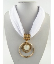 Artificial Turquoise Inlaid Alloy Hoops Pendant Design Women Scarf Necklace - White