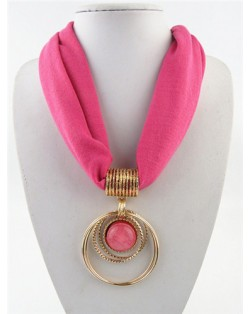 Artificial Turquoise Inlaid Alloy Hoops Pendant Design Women Scarf Necklace - Rose