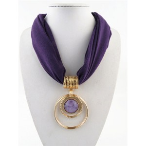 Artificial Turquoise Inlaid Alloy Hoops Pendant Design Women Scarf Necklace - Purple