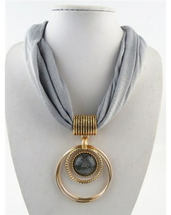 Artificial Turquoise Inlaid Alloy Hoops Pendant Design Women Scarf Necklace - Gray
