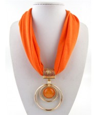 Artificial Turquoise Inlaid Alloy Hoops Pendant Design Women Scarf Necklace - Orange