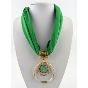 Artificial Turquoise Inlaid Alloy Hoops Pendant Design Women Scarf Necklace - Green