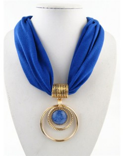 Artificial Turquoise Inlaid Alloy Hoops Pendant Design Women Scarf Necklace - Blue