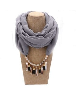 Waterdrops Tassel and Beads Decorated Solid Color Cotton Women Scarf Necklace - Gray